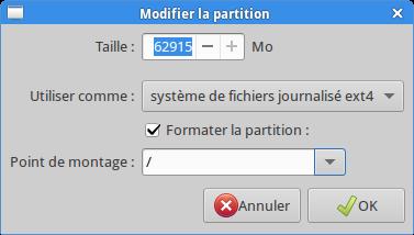 partition racine